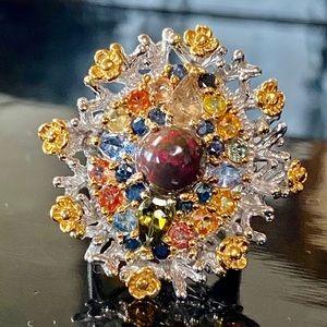 Ravishing Genuine Opal Sapphire Ring